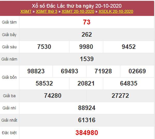 Soi cầu KQXS ĐăkLắc 27/10/2020 thứ 3 siêu chuẩn xác
